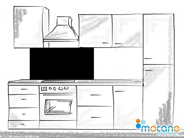 Küchenrückwand Schwarz einfarbig UNI 120x60cm - Wohnbeispiel