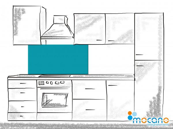 Küchenrückwand Meer Blau einfarbig UNI 120x60cm - Wohnbeispiel