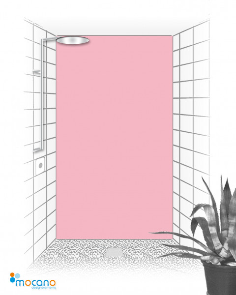 Duschrückwand Hell Rosa einfarbig UNI - Wohnbeispiel