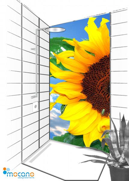 Duschrückwand Sunflower 7 - 90x210cm - Wohnbeispiel