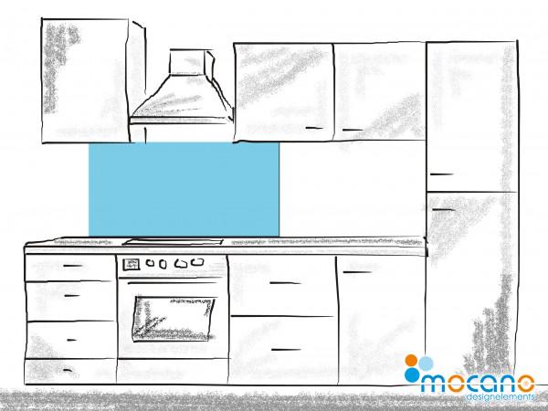 Küchenrückwand Licht Blau einfarbig UNI 120x50cm - Wohnbeispiel