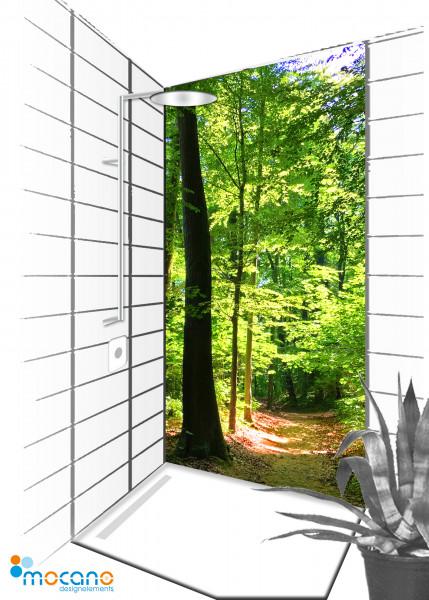 Duschrückwand Lichtung lichtdurchflutet 90x210cm - Wohnbeispiel