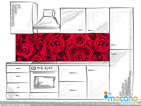 Küchenrückwand Rote Rosen 200x60cm - Wohnbeispiel