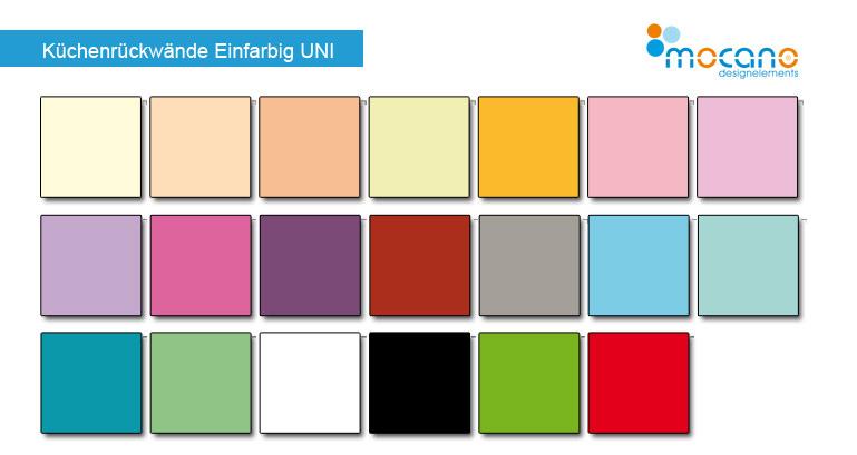 Acrylglas Küchenrückwände in UNI-Farbtönen
