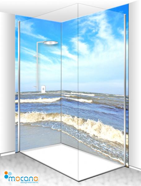 Duschrückwand Eck-Set Ostsee 3 200x210cm - Wohnbeispiel