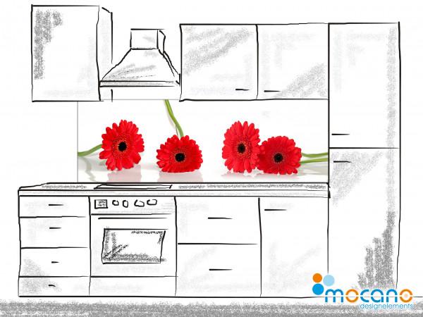 Küchenrückwand Rote Margeriten 180x60cm - Wohnbeispiel