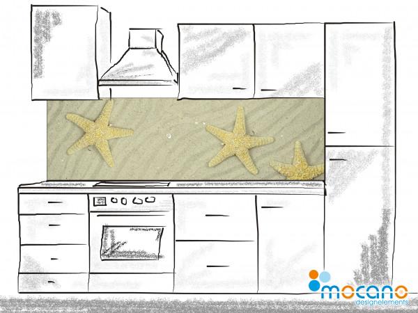 Küchenrückwand Seesterne am Strand 200x60cm - Wohnbeispiel