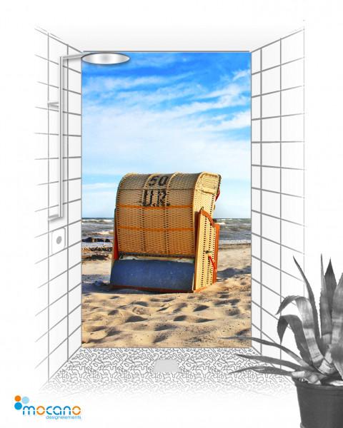 Duschrückwand Strandkorb 6.2 120x210cm - Wohnbeispiel