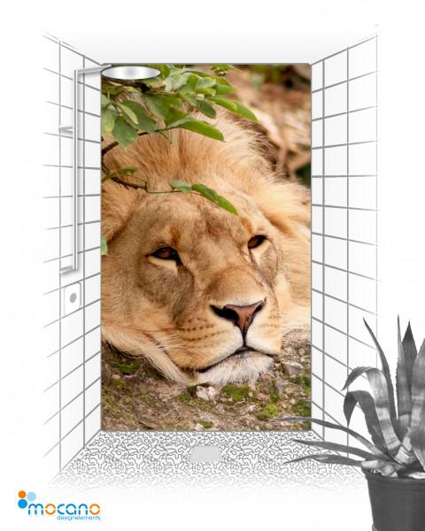Duschrückwand Löwe 120x210cm - Wohnbeispiel