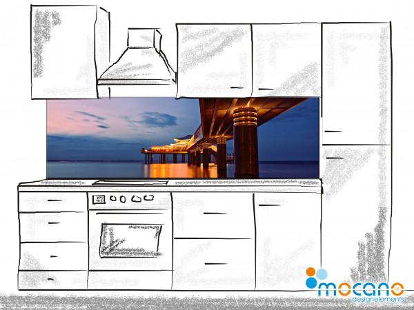 Küchenrückwand Seebrücke Timmendorfer Strand beleuchtet 200x60cm - Wohnbeispiel