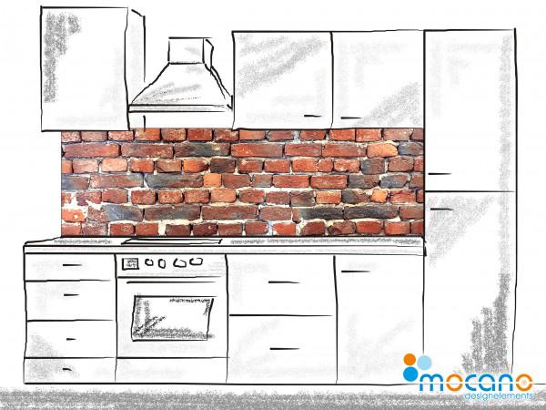 Küchenrückwand Ziegelsteinwand - 200x60cm Wohnbeispiel