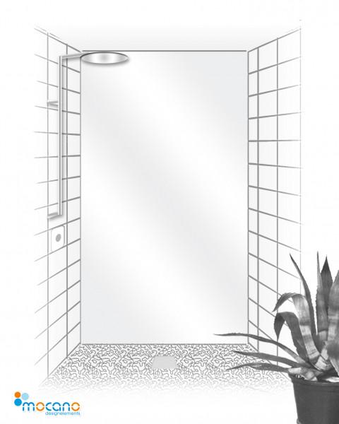 Duschrückwand Weiß einfarbig UNI - Wohnbeispiel