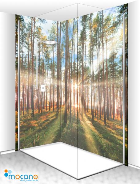 Duschrückwand Eck-Set Wald im Gegenlicht 200x210cm - Wohnbeispiel