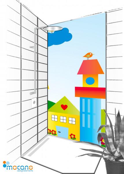 Duschrückwand Die kleine Kinderwelt 90x210cm - Wohnbeispiel