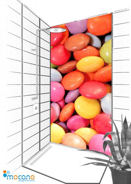 Duschrückwand Color Bonbon 90x210cm - Wohnbeispiel