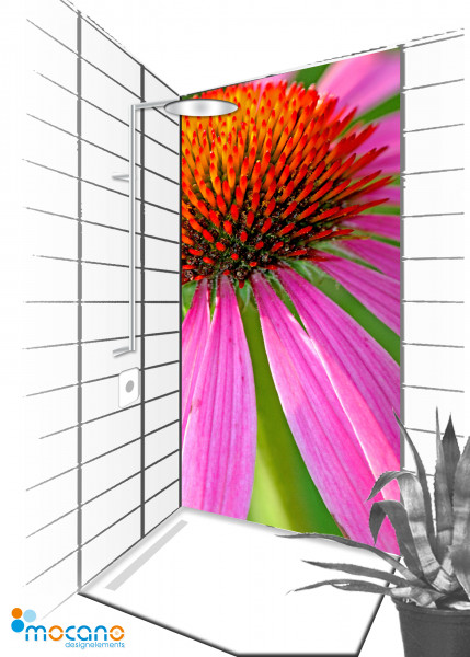 Duschrückwand Flower 50 - 90x210cm - Wohnbeispiel