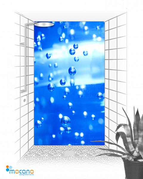 Wasserperlen - 120x210cm Duschrückwand - Wohnbeispiel