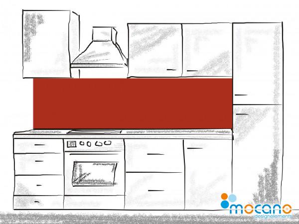 Küchenrückwand Ziegel Rot einfarbig UNI 200x50cm - Wohnbeispiel
