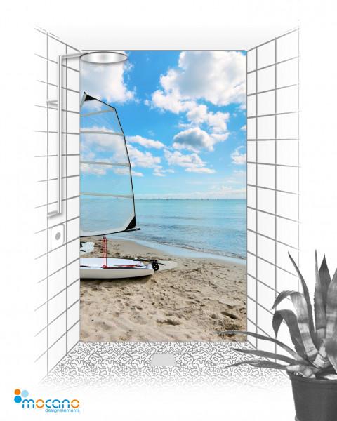 Dream Beach - 120x210cm Duschrückwand - Wohnbeispiel