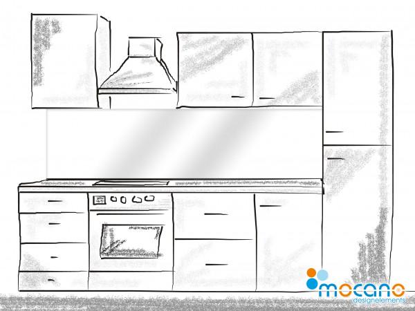 Küchenrückwand Weiß einfarbig UNI 200x50cm - Wohnbeispiel