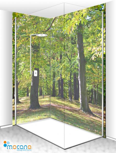Duschrückwand Eck-Set Buchenwald 200x210cm - Wohnbeispiel