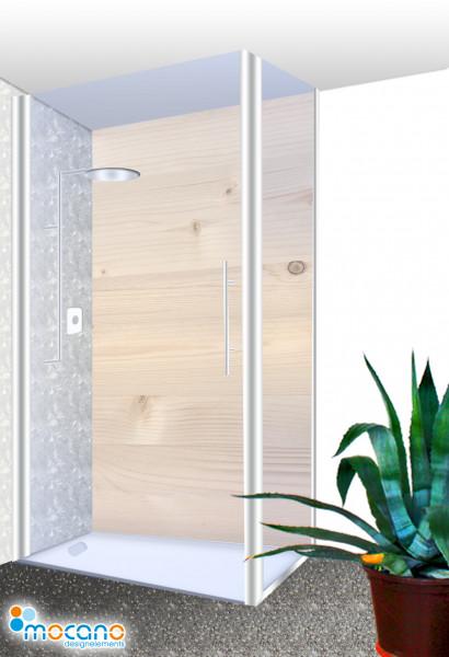 Duschrückwand - Holzoptik Fichte Wohnbeispiel
