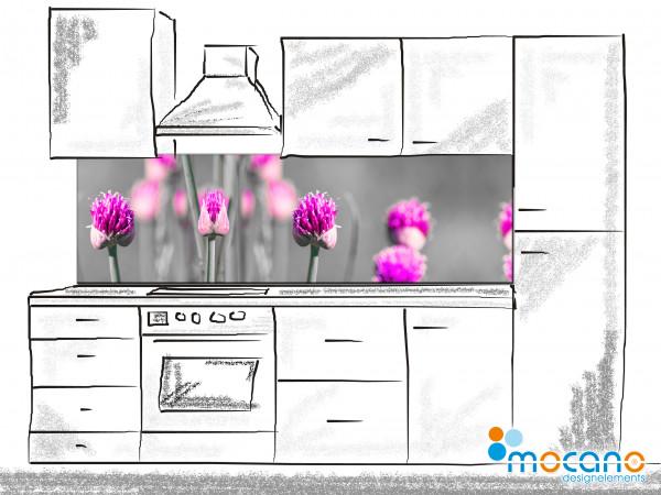 Küchenrückwand Blühender Schnittlauch 200x60cm - Wohnbeispiel
