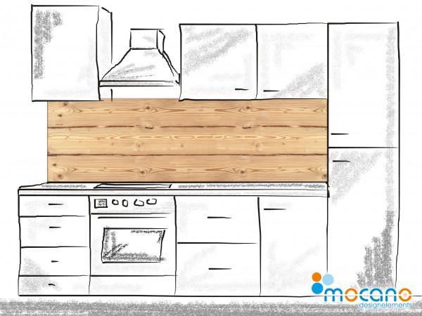 Küchenrückwand Holzoptik Rustikal 2 - 200x60cm Wohnbeispiel