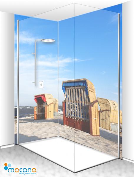 Duschrückwand Eck-Set Strandkörbe 10 200x210cm - Wohnbeispiel
