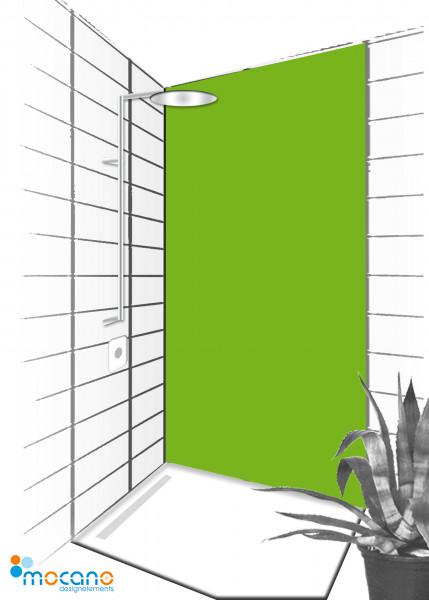 Duschrückwand Frühlingsgrün 90x210cm einfarbig UNI - Wohnbeispiel