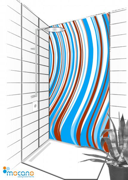 Duschrückwand Blue Line 90x210cm - Wohnbeispiel