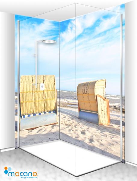 Duschrückwand Eck-Set Strandkörbe 11 200x210cm - Wohnbeispiel