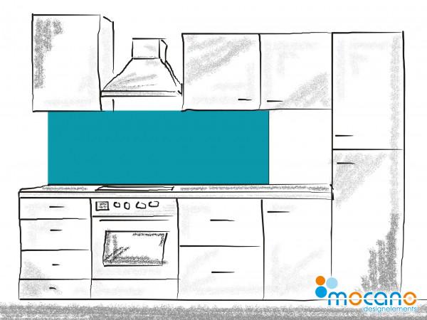 Küchenrückwand Meer Blau einfarbig UNI 180x50cm - Wohnbeispiel