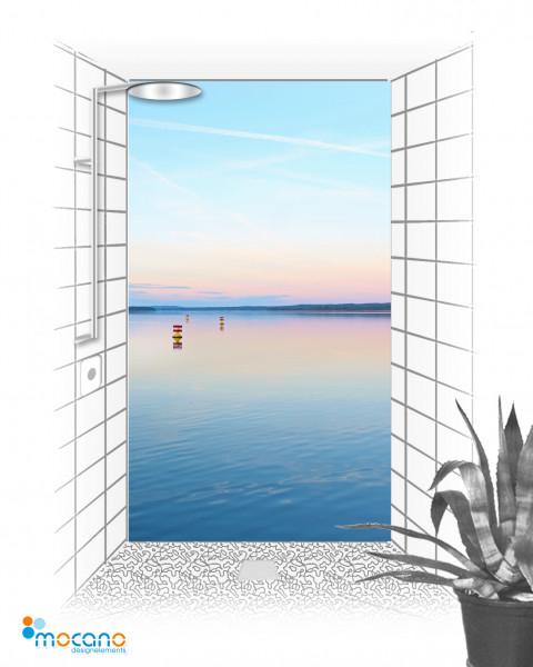 Duschrückwand Sonnenaufgang am See 120x210cm - Wohnbeispiel