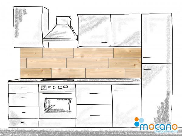 Küchenrückwand Dekor Holzfliese 200x50cm - Wohnbeispiel