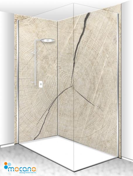 Duschrückwand Eck-Set Holzstruktur Eiche 1 200x210cm - Wohnbeispiel