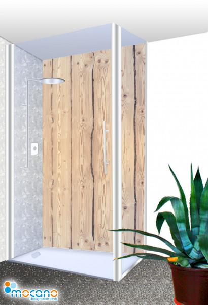Duschrückwand Holzoptik Rustikal 100x210cm - Wohnbeispiel
