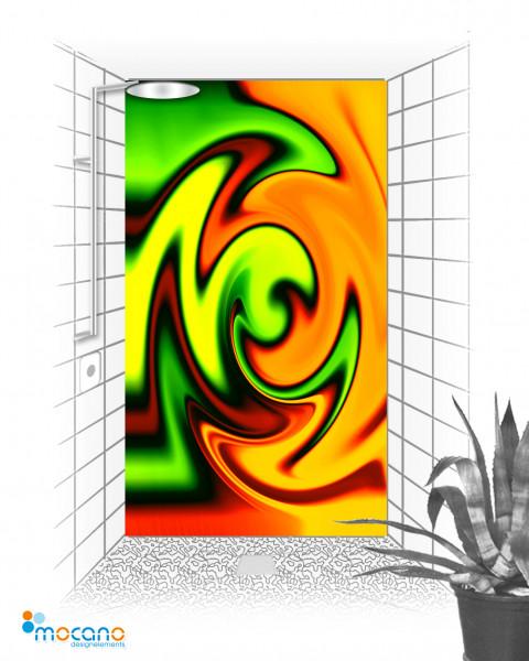 Duschrückwand Yellow Twister 120x210cm - Wohnbeispiel