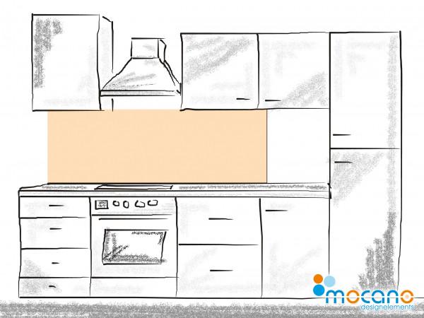 Küchenrückwand Pastel Peach einfarbig UNI 180x50cm - Wohnbeispiel
