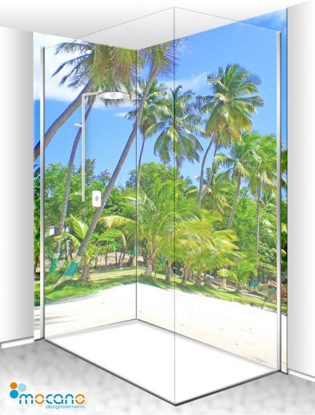 Duschrückwand Eck-Set Jacmel Haiti Insel 200x210cm - Wohnbeispiel