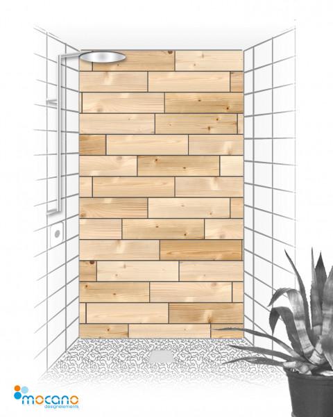 Duschrückwand - Dekor Holzfliesen - Wohnbeispiel
