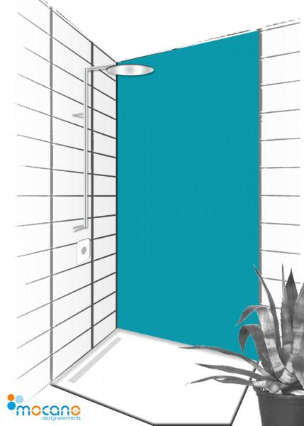 Duschrückwand Meer Blau 90x210cm einfarbig UNI - Wohnbeispiel