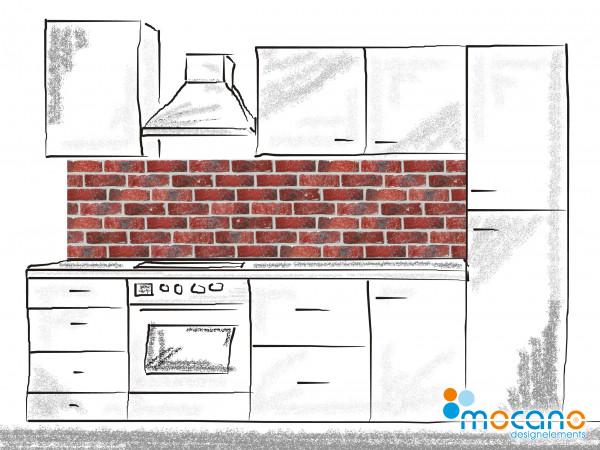 Küchenrückwand Ziegelwand 200x50cm - Wohnbeispiel