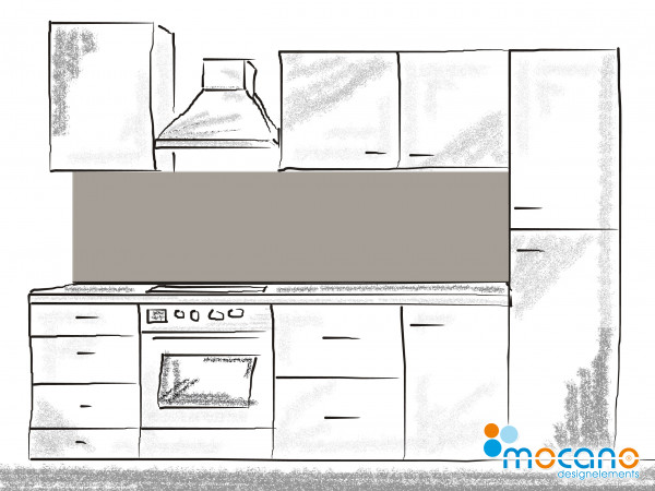 Küchenrückwand Mittel Grau einfarbig UNI 200x50cm - Wohnbeispiel