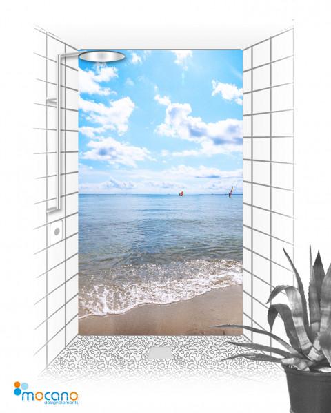 Wellen am Strand 120x210cm Duschrückwand - Wohnbeispiel