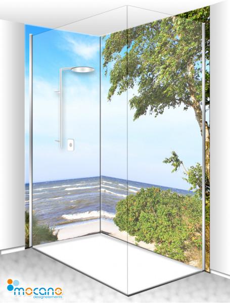 Duschrückwand Eck-Set Birke am Meer 2 200x210cm - Wohnbeispiel
