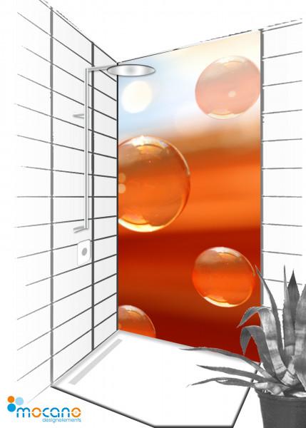 Duschrückwand Water Bubbles 4 - 90x210cm - Wohnbeispiel