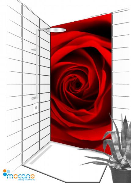 Duschrückwand Red Dreaming Rose 150 - 90x210cm - Wohnbeispiel
