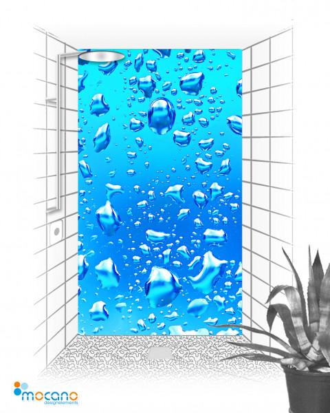 Blaue Wassertropfen 120x210cm Duschrückwand - Wohnbeispiel