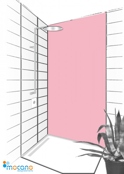 Duschrückwand Hell Rosa 90x210cm einfarbig UNI - Wohnbeispiel